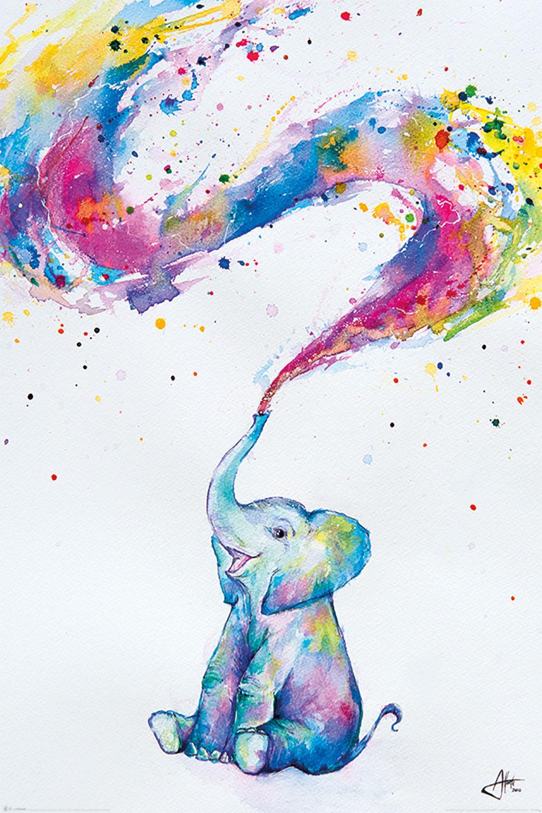 Plakaty Bajkowe Kolorowy Mały Słonik Plakat Artystyczny