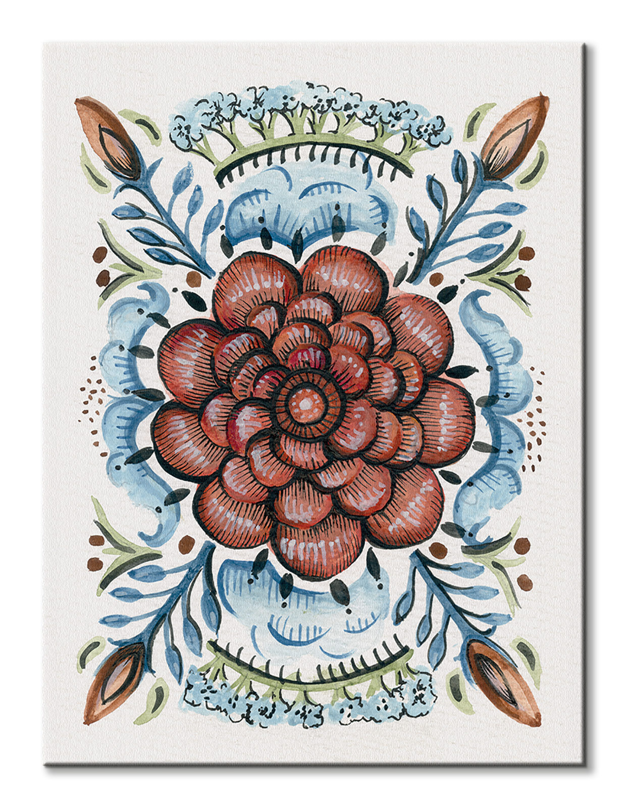 228651da Amanda Colville Folk Floral IV - obraz na płótnie - nicestuff.pl