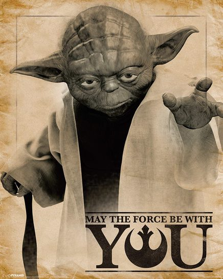 Star Wars Gwiezdne Wojny Mistrz Yoda May the force be with you - plakat