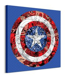 Marvel (Captain America Shield Collage) - Obraz na płótnie